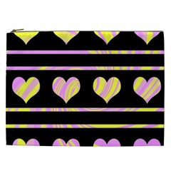 Pink and yellow harts pattern Cosmetic Bag (XXL)
