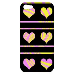 Pink and yellow harts pattern Apple iPhone 5 Hardshell Case