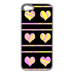 Pink and yellow harts pattern Apple iPhone 5 Case (Silver)