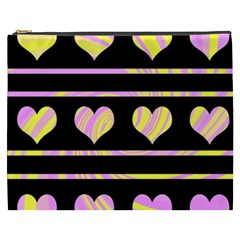 Pink and yellow harts pattern Cosmetic Bag (XXXL)