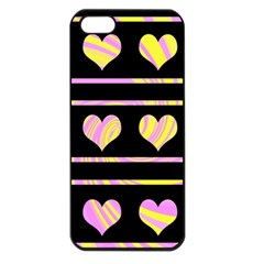 Pink and yellow harts pattern Apple iPhone 5 Seamless Case (Black)
