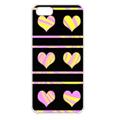 Pink and yellow harts pattern Apple iPhone 5 Seamless Case (White)
