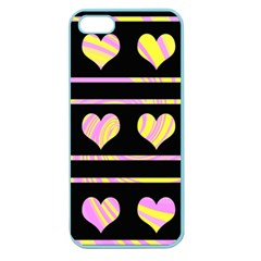 Pink and yellow harts pattern Apple Seamless iPhone 5 Case (Color)