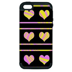 Pink and yellow harts pattern Apple iPhone 5 Hardshell Case (PC+Silicone)