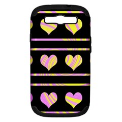 Pink and yellow harts pattern Samsung Galaxy S III Hardshell Case (PC+Silicone)