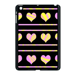 Pink and yellow harts pattern Apple iPad Mini Case (Black)
