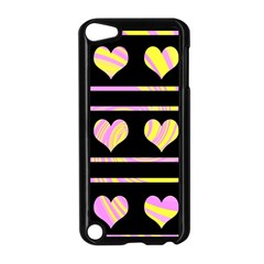 Pink and yellow harts pattern Apple iPod Touch 5 Case (Black)