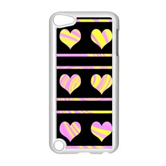 Pink and yellow harts pattern Apple iPod Touch 5 Case (White)