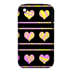 Pink and yellow harts pattern iPhone 3S/3GS