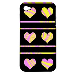 Pink and yellow harts pattern Apple iPhone 4/4S Hardshell Case (PC+Silicone)