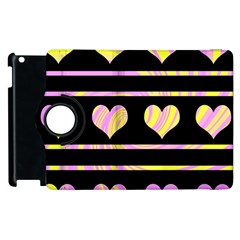 Pink and yellow harts pattern Apple iPad 2 Flip 360 Case