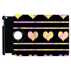 Pink and yellow harts pattern Apple iPad 3/4 Flip 360 Case