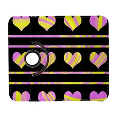 Pink and yellow harts pattern Galaxy S3 (Flip/Folio)