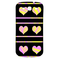 Pink and yellow harts pattern Samsung Galaxy S3 S III Classic Hardshell Back Case
