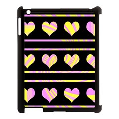 Pink and yellow harts pattern Apple iPad 3/4 Case (Black)