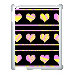 Pink and yellow harts pattern Apple iPad 3/4 Case (White)