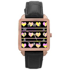Pink and yellow harts pattern Rose Gold Leather Watch