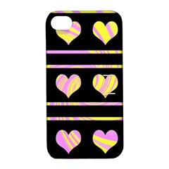 Pink and yellow harts pattern Apple iPhone 4/4S Hardshell Case with Stand