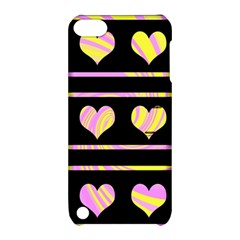 Pink and yellow harts pattern Apple iPod Touch 5 Hardshell Case with Stand