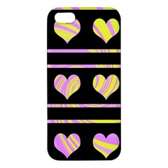 Pink and yellow harts pattern Apple iPhone 5 Premium Hardshell Case