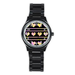 Pink and yellow harts pattern Stainless Steel Round Watch