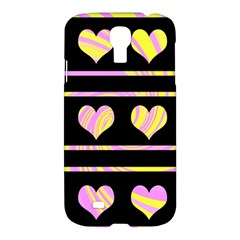 Pink and yellow harts pattern Samsung Galaxy S4 I9500/I9505 Hardshell Case
