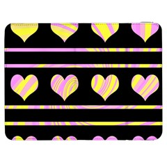 Pink and yellow harts pattern Samsung Galaxy Tab 7  P1000 Flip Case
