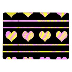 Pink and yellow harts pattern Samsung Galaxy Tab 10.1  P7500 Flip Case