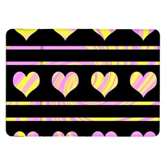 Pink and yellow harts pattern Samsung Galaxy Tab 8.9  P7300 Flip Case