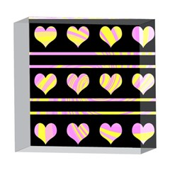 Pink and yellow harts pattern 5  x 5  Acrylic Photo Blocks