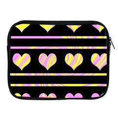 Pink and yellow harts pattern Apple iPad 2/3/4 Zipper Cases