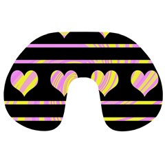 Pink and yellow harts pattern Travel Neck Pillows