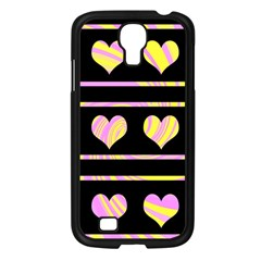 Pink and yellow harts pattern Samsung Galaxy S4 I9500/ I9505 Case (Black)