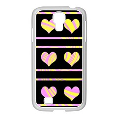 Pink and yellow harts pattern Samsung GALAXY S4 I9500/ I9505 Case (White)