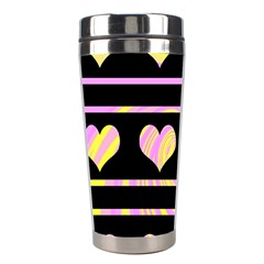 Pink and yellow harts pattern Stainless Steel Travel Tumblers