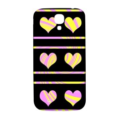 Pink and yellow harts pattern Samsung Galaxy S4 I9500/I9505  Hardshell Back Case
