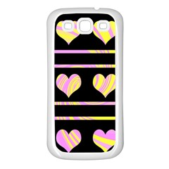 Pink and yellow harts pattern Samsung Galaxy S3 Back Case (White)