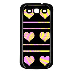 Pink and yellow harts pattern Samsung Galaxy S3 Back Case (Black)