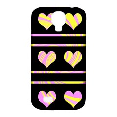 Pink and yellow harts pattern Samsung Galaxy S4 Classic Hardshell Case (PC+Silicone)