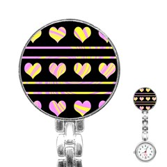 Pink and yellow harts pattern Stainless Steel Nurses Watch