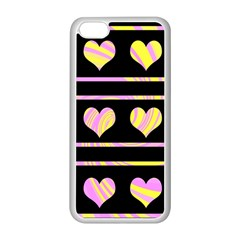 Pink and yellow harts pattern Apple iPhone 5C Seamless Case (White)