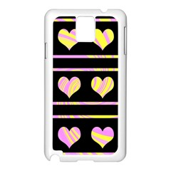 Pink and yellow harts pattern Samsung Galaxy Note 3 N9005 Case (White)