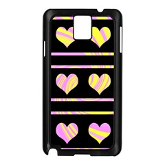 Pink and yellow harts pattern Samsung Galaxy Note 3 N9005 Case (Black)