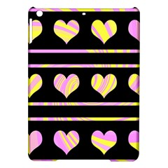 Pink and yellow harts pattern iPad Air Hardshell Cases