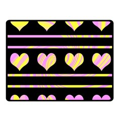 Pink and yellow harts pattern Double Sided Fleece Blanket (Small)