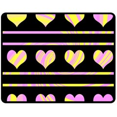 Pink and yellow harts pattern Double Sided Fleece Blanket (Medium)