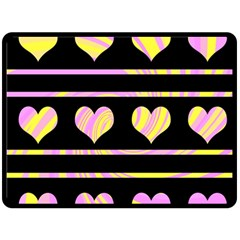 Pink and yellow harts pattern Double Sided Fleece Blanket (Large)