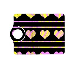 Pink and yellow harts pattern Kindle Fire HD (2013) Flip 360 Case