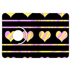 Pink and yellow harts pattern Kindle Fire HDX Flip 360 Case