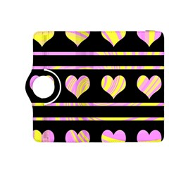 Pink and yellow harts pattern Kindle Fire HDX 8.9  Flip 360 Case